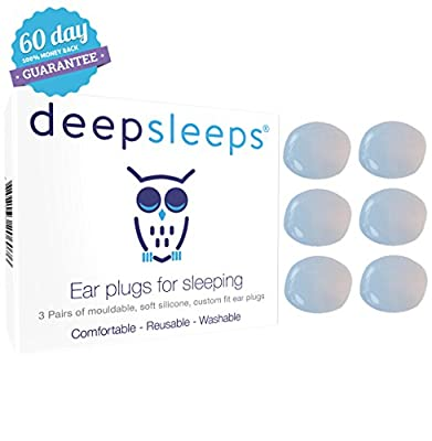 Earplugs for Sleeping by Deep Sleeps (1 Box - 3 Pairs) Reusable and Custom Fit - Soft Silicone Ear plugs - Best Earplugs for Sleeping - Sleeping Ear Plugs - Includes A 60 Day Money Back Guarantee