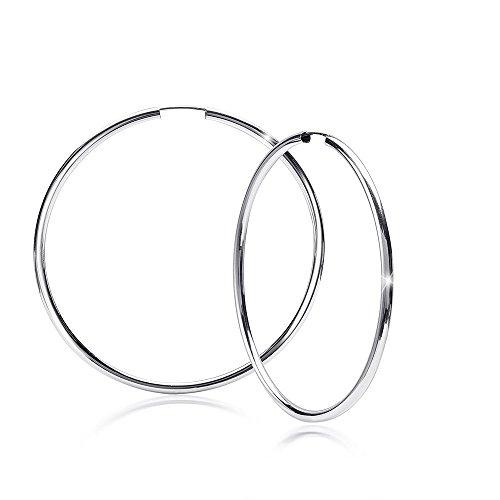 MATERIA Damen Creolen Silber 925 groß rhodiniert voll flexibel 50mm/deutsche Fertigung #SO-332