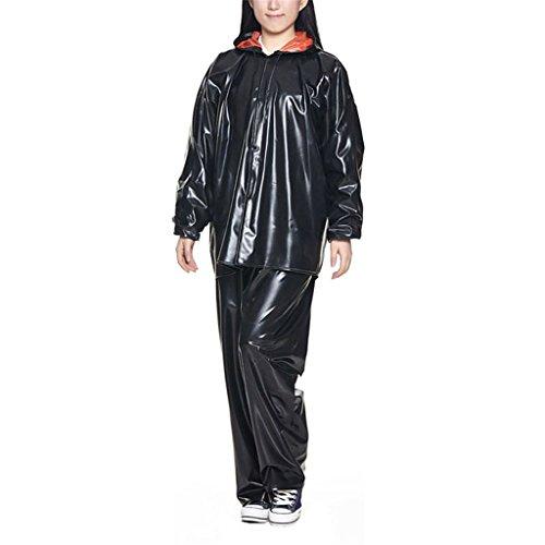 LAXF-Regenbekleidung Womens Wasserdichte Regenjacke Mantel und Hose Set Anzug Leichte Regenmantel Tragbare Regenbekleidung für Outdoor Bike Radfahren Camping Reisen Wandern Polyester Schwarz ( Farbe : B , größe : L )