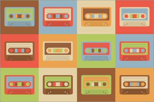 Póster 150 x 100 cm: Retro Cassette de pixelliebe - impresión artística póster artístico