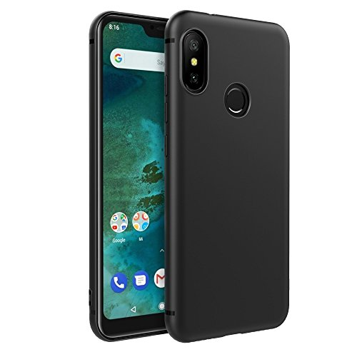 EasyAcc Xiaomi Mi A2 Lite/Redmi 6 Pro Hülle Case, Schwarz TPU Telefonhülle Matte Oberfläche Handyhülle Schutzhülle Schmaler Telefonschutz für das Xiaomi Mi A2 Lite/Redmi 6 Pro