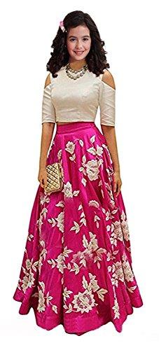 Nilkanth Fashion PINK banglori, blackberry velvet cotton thread work lehengha choli for kids (KIDS AAROHI PINK lehengha choli)