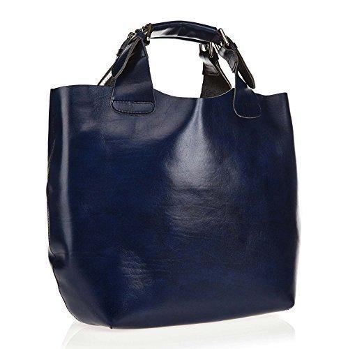 Borsa Shopping in Vera Pelle DIN A4 - Daisy16 35x30x15 cm - 35x30x15 cm, Blu scuro