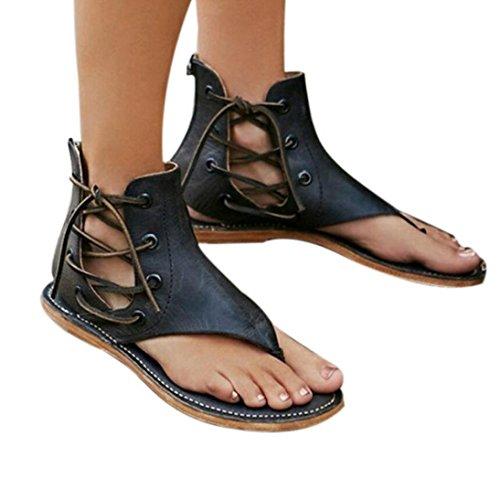 Sandalias de mujer, medias sin puntera para sandalias de dedo para mujer con Tira de Tobillo Mujer Slim Chanclas Sandalias romanas de mujer de fondo plano Zapatos planos de tobillo abierto Cuñas de plataforma Zapatillas verano 2018 (Negro, Talla 39)