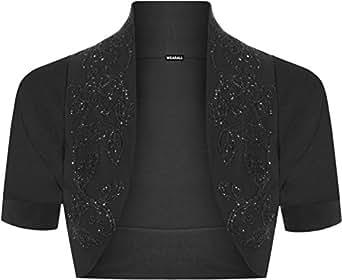 New Ladies Plus Size Beaded Shrug Womens Short Sleeve Bolero Cardigan Top Black 16/18