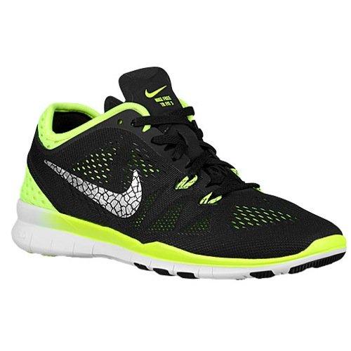 Preisvergleich Produktbild Nike Free TR 5 Breathe, Damen-Multisport-Schuhe für drinnen, schwarz - Black/Metallic Silver-volt - Größe: 40,5 EU
