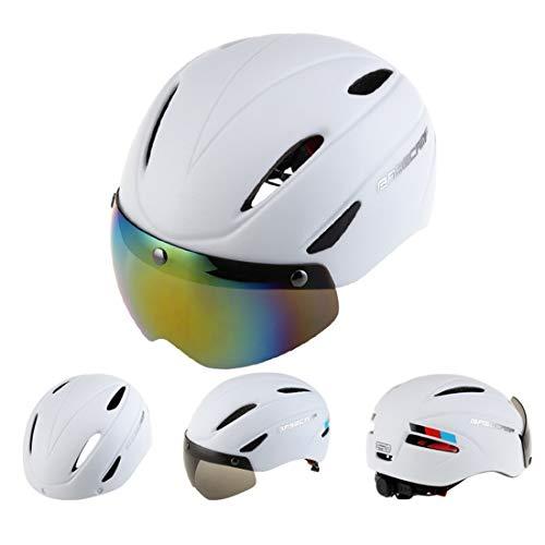 Lanbinxiang@ Casque de Protection magnétique Professionnel de Sports de Plein air, adapté au Tour de tête: 56-62cm, Taille: 30 * 28 * 27cm sécurité (Couleur : Blanc)