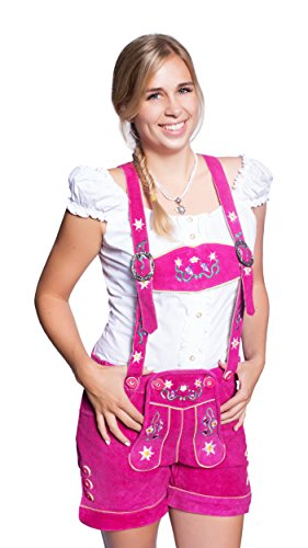 Kurze Damen Lederhose (38, Pink)