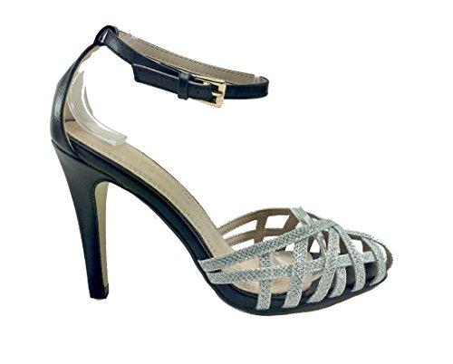 Sandali donna casual / eleganti glitterati in ecopelle cinturino caviglia MG700 GRIGIO ARGENTO