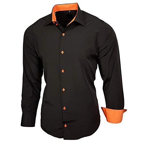 Baxboy Elastisch Hemd Slim Fit für Freizeit Business Hochzeit Reine Farbe Hemd Kentkragen Langarm Kontrast Herren-Hemd B_502, Größe:XL, Farbe:Schwarz/Orange