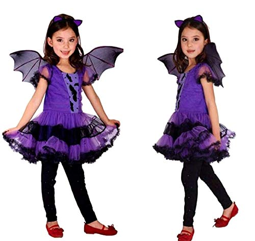 Vestito di carnevale da vampira per bambina con cerchietto e ali taglia m 5-7 anni idea travestimento