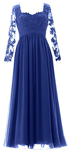 MACloth Vintage Long Sleeves Mother of Bride Dress Maxi Evening Formal Gown Royal Blue