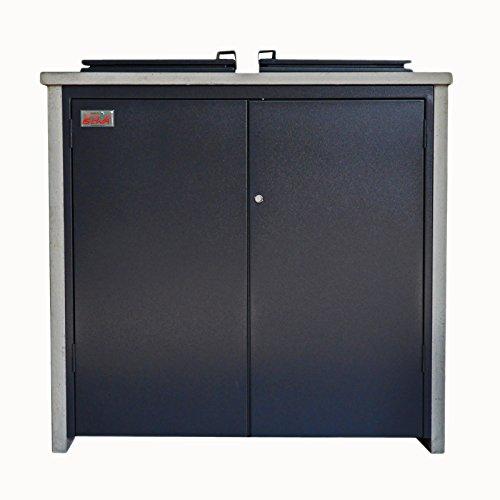 BEWA Mülltonnenschrank Home, Mülltonnenverkleidung Müllbehälter für 2x120 Liter Behälter, 115 x 70 x 120 cm RAL 7011 eisengrau