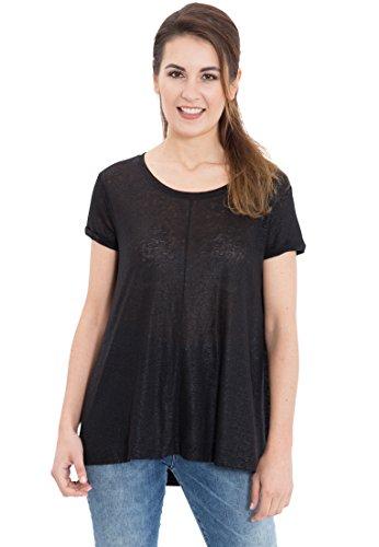 MEXX Damen Comfort Fit Oversized Shirt mit glänzendem Schimmer Schwarz