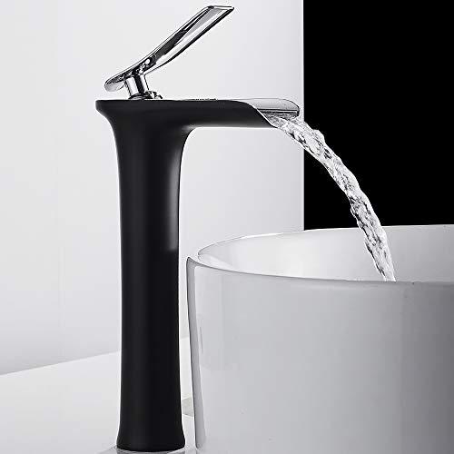 Grifo mezclador para cuarto de baño de cascada para fregadero - Grifo mezclador de lavabo cromado - Grifo mezclador de cascada para cuarto de baño (alto), negro
