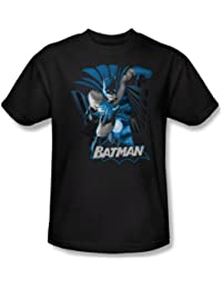 Justice League - Batman Blue & Gray Adult T-Shirt In Black
