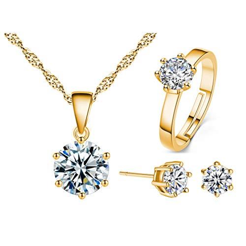 Canarea 1 Set/3Pcs Damen Mädchen Ohrringe mit Halskette +Ring Silber 925 , mit Glitzer Kristall Multi-Farbe Ring+Studs et Kette Schmuckset ,Geschenke für Frauen /Freundin/Tochter (Gold)