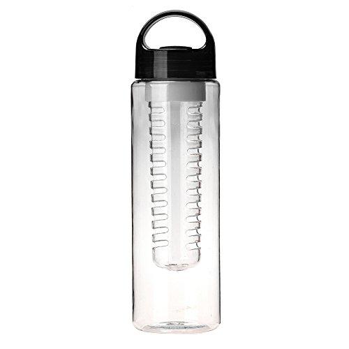 AMhomely 700ML Plastikwasserflasche für Obst Premium Fruit Infuser Water Bottle Trinkflasche Ideal fürs Gym & Fitness Infused Water Bottle für Detox Water Bottle Infuser für Ingwer, (Black)