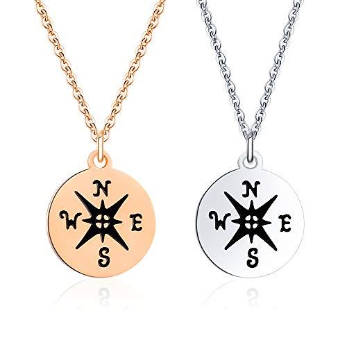 VU100 Kompass-Halsketten für Damen, Mädchen, Freundschaft, Paar, Familie, Beziehung Schmuck aus Edelstahl, Silber/Roségold, 2 Stück