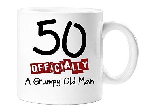 Tasse amusante à offrir pour un 50ème anniversaire - Inscription : « 50 Officially A Grumpy Old Man »
