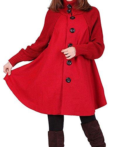 BIUBIU Damen Lange Poncho Cape Mantel Cardigan Pulli Strickjacke Trenchcoat Rot