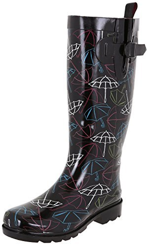 Capelli New York Ladies Shiny Lace & Roses Printed Tall Rainboot