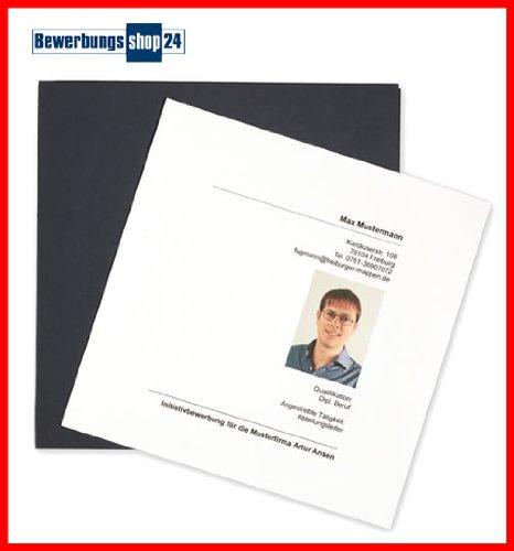2-teilige quadratische Bewerbungsmappe / Präsentationsmappe in BLAU vom BewerbungsShop24 // Mappe Folder Sondergröße auffällig zweiteilig Premium Luxus 2 Klemmschienen Bewerbung Bewerben (Blaue Präsentationsmappen)