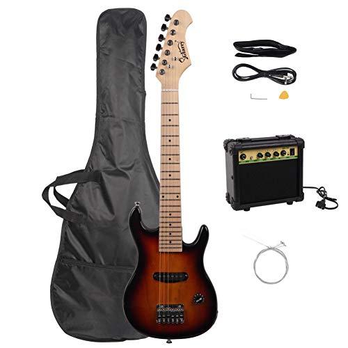 Feelfly Glarry Griffbrett E-Gitarre mit Verstärker, Tasche, Saiten, Schultergurt, Plektrumschlüssel, 76,2 cm