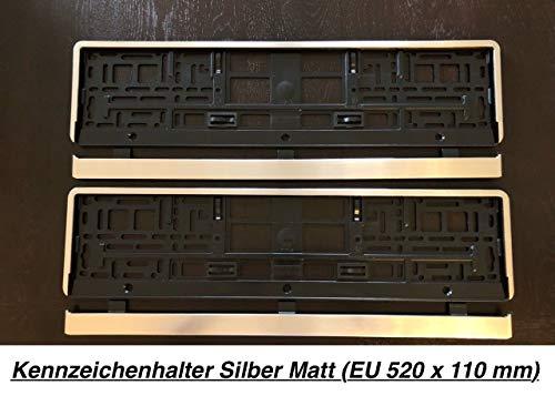 2x Kennzeichenhalter Nummernschildhalter Made in EU 52 x 11 cm 520mm x 110mm Rand Chrom Optik Matt Gebürstet Silber -