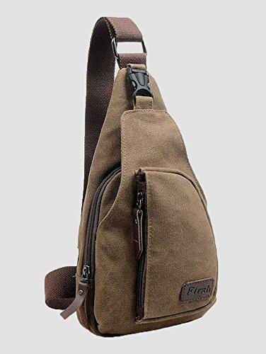 CuteMe ® Herren-kleine Leinwand Military Messenger Schultertasche Rucksack Reisen Wandern--Farbe Braun Military Chino Hose