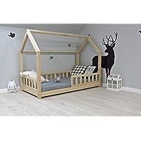 Preisvergleich für Best For Kids Kinderbett Kinderhaus mit Rausfallschutz Jugendbett Natur Haus Holz Bett mit oder ohne 10 cm Matratze in 3 Größen