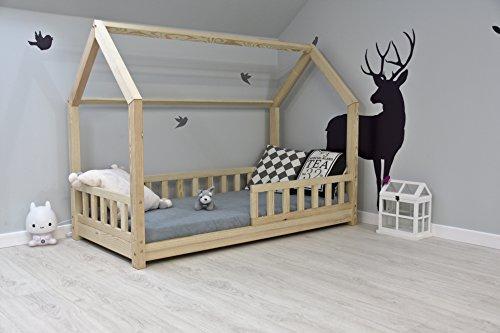 Best For Kids Kinderbett Kinderhaus mit Rausfallschutz Jugendbett Natur Haus Holz Bett mit oder ohne 10 cm Matratze in 8 Größen (90x200 cm mit Matratze) -