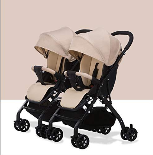 QZX Sillón Tandem Cochecitos de bebé de Lado a Lado, Cochecito de bebé, con Respaldo Ajustable y reposapiés, Separable, Plegable,Beige