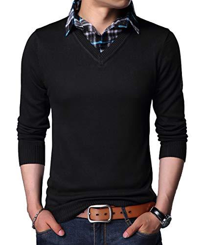 YinQ Lange Ärmel Strickpullover Feinstrick Pullover Mit V-Ausschnitt Herren Strickjacke Cardigan mit Hemdkragen (Large, Schwarz)