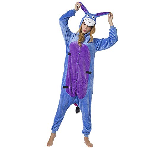 Pyjamas Bekleidung Animal Erwachsene Unisex Schlafanzüge Karneval Onesies Cosplay Kapuzenpullover Jumpsuits Anime Carnival Spielanzug Kostüme Weihnachten Halloween Nachtwäsche Jugend Blau Esel