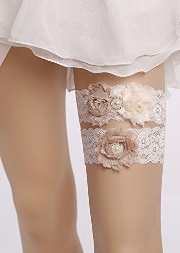 kercisbeauty 2von Braut Bridesmaids Garter mit Gummiband, verstellbar, Weiß, mit rosa Blume Champagner und Braut-Super-Flash-Party, rustikale Hochzeit, Strand (Gummibändern Übung Mit)