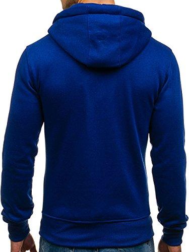 BOLF Kapuzenpullover Sweatshirt Hoodie Kapuze Pullover mit Reißverschluss Mix 1A1 Mittelblau_2008