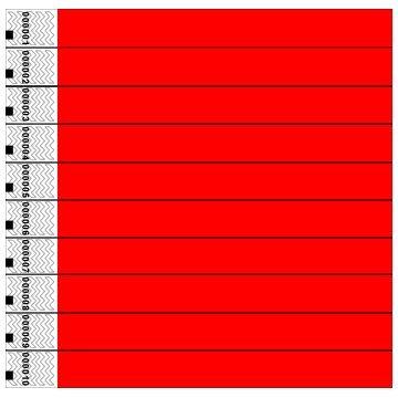 Tyvek Wristbands, Plain, Red, 100 Pack Test