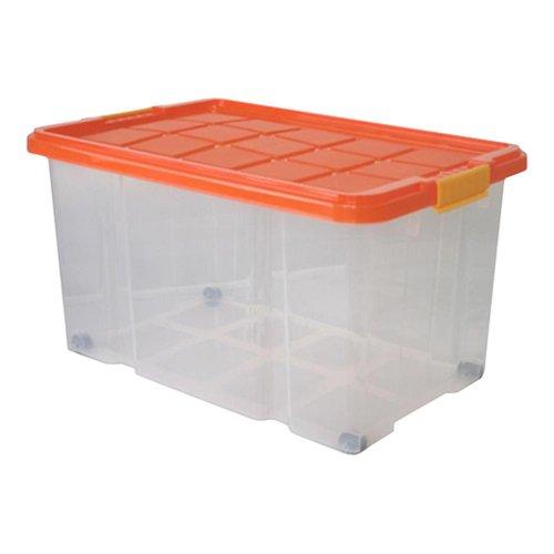 12 Stück AXENTIA Unibox mit Deckel und Rollen Stapelbox Universalbox Aufbewahrungskiste Spielzeugbox 60 x 40 x 34 cm 55 Liter