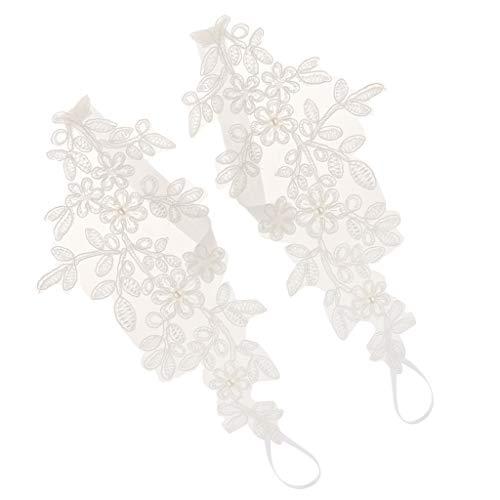 Baoblaze Piedi Sandali A Piedi Nudi Piedi A Catena in Pizzo da Donna - Bianca, 19x10cm
