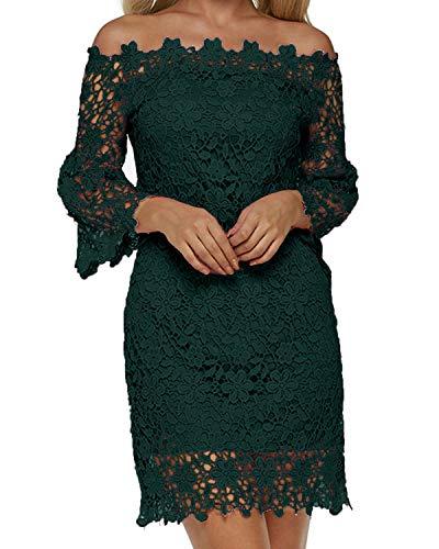 Auxo Damen Schulterfreie Langarm Kleider mit Spitze Elegant Blumen Kurz Abend Etuikleid Grün EU 42/Etikettgröße XL Grün Abend Kleid