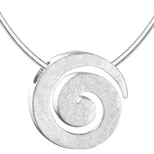 Vinani Anhänger Spirale gebürstet mit Schlangenkette 50 cm Sterling Silber 925 Kette Italien ASR50