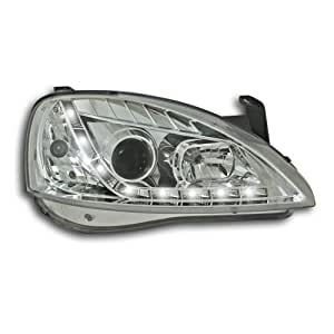 Phares avant, design feux diurnes, Opel Corsa C 01-06, aspect xénon, clignotants intégrés, avec correcteur de portée lumineuse, verre lisse/fond chrome