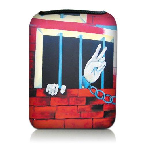 Luxburg Design Tasche Hülle Sleeve Etui für eBook Reader und Tablet PC bis 7 Zoll, Motiv: 'Peace' hinter Gittern