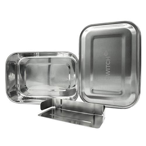 SWITCH TOO EifelDose - Plastikfreie Brotdose aus Edelstahl | BPA-Frei | Kinder, Schule, Wandern, Urlaub, Reise, Auto (1200 ml)