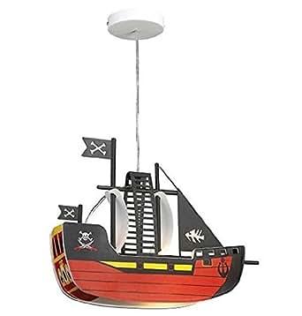 Enfants lampe de plafond avec bateau pirate E27 Lampe LED plafond modèle de lampe de chambre d'enfants Conception Pirate XL avec illuminant A + éclairage camaretta enfants de haute qualité 7W LED [Classe énergétique A +]