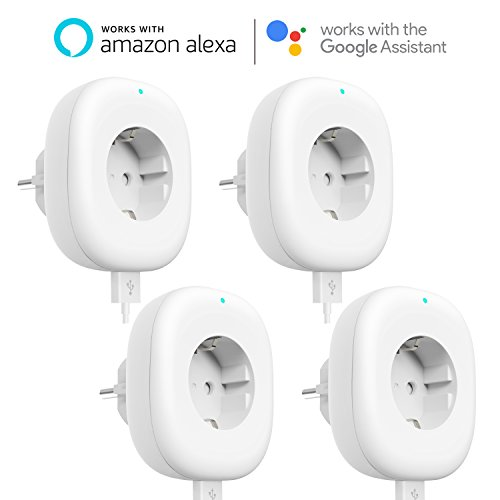 Foto de Enchufe Inteligente wifi, Maxcio Mini Enchufe Wlan con Temporizador, Control con App IOS y Android, no Requiere Hub, Funciona con Alexa, Google Home e IFTTT, Enchufe Wifi de 10 A/2200W, 4-pack.