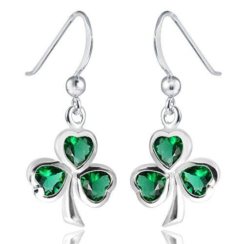 MATERIA Kleeblatt Ohrhänger Zirkonia grün - 925 Silber Ohrringe Glücksbringer / Glück mit Box #SO-210 Glücksbringer Ohrringe