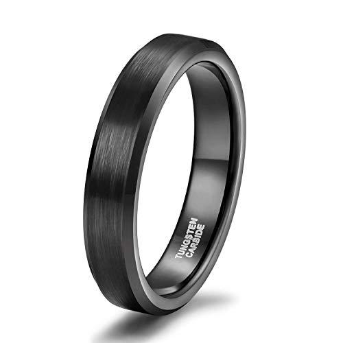 Titaniumcentral Damen Herren Ringe aus Wolframcarbid Gebürstet Schwarz Verlobungsringe Trauringe (4mm(Wolframcarbid), 57 (18.1))