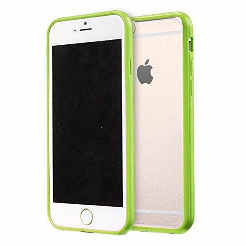 Jante Arrière PC Mat avec Bumper en silicone TPU Coque pour iPhone 6/6S 11,9cm + Film protecteur d'écran Vert citron